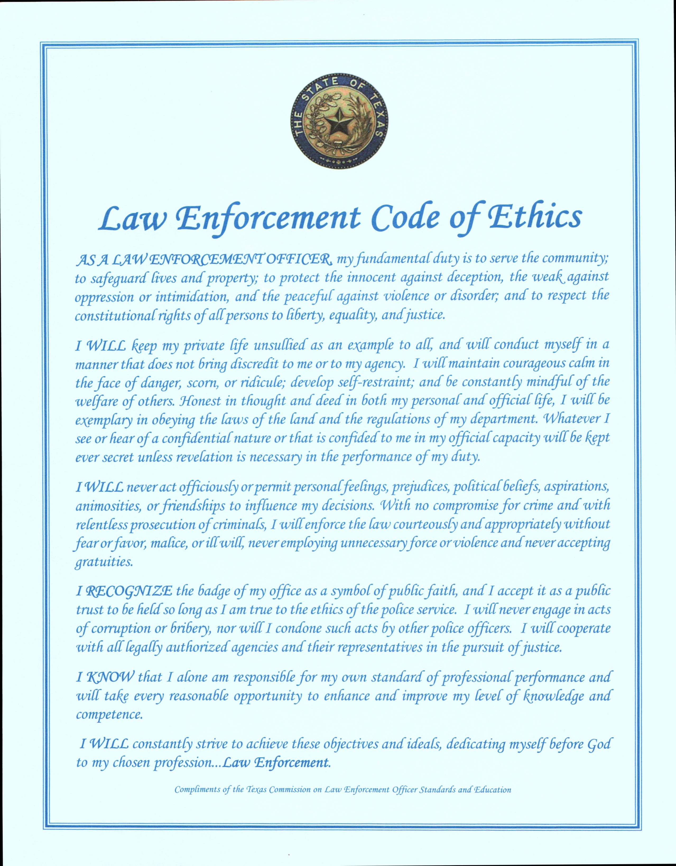 Police ficer Code of Ethics